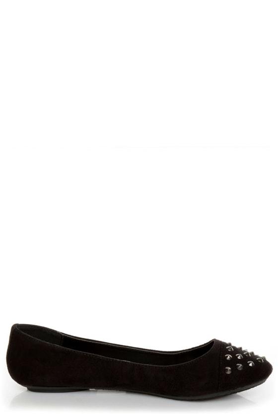 City Classified Gloria Black Studded Cap-Toe Flats
