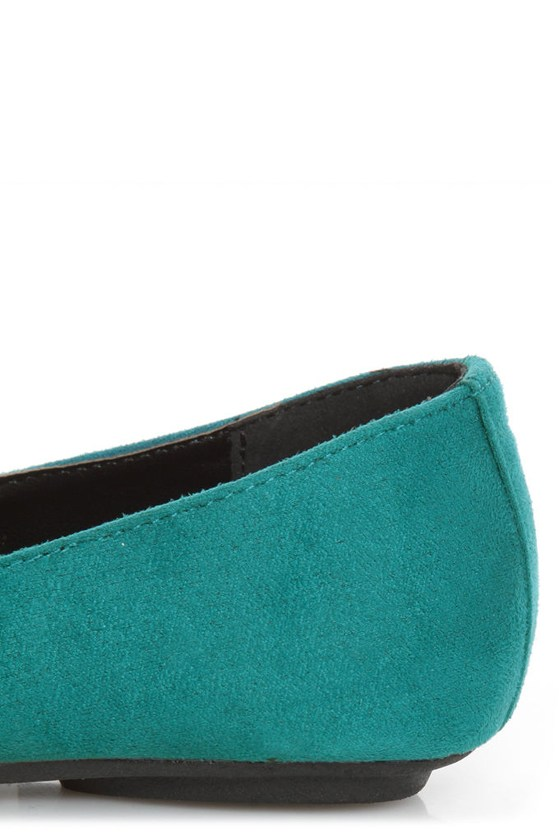 City Classified Gloria Deep Teal Studded Cap-Toe Flats at Lulus.com!
