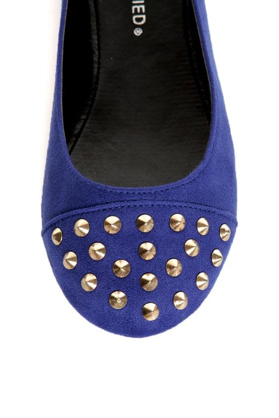 City Classified Gloria Electric Blue Studded Cap-Toe Flats