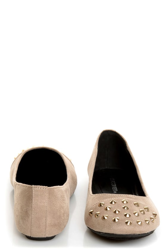 City Classified Gloria Taupe Studded Cap-Toe Flats at Lulus.com!