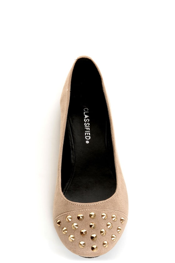 City Classified Gloria Taupe Studded Cap-Toe Flats