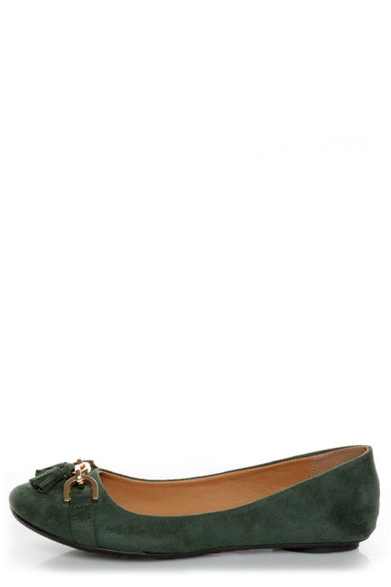 City Classified Hi Green Tassel Ballet Flats at Lulus.com!
