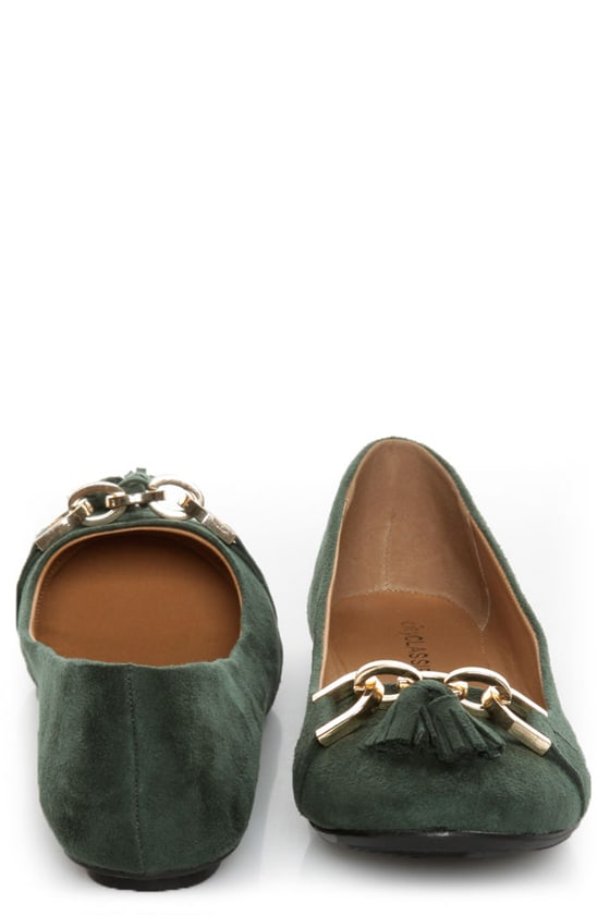 City Classified Hi Green Tassel Ballet Flats