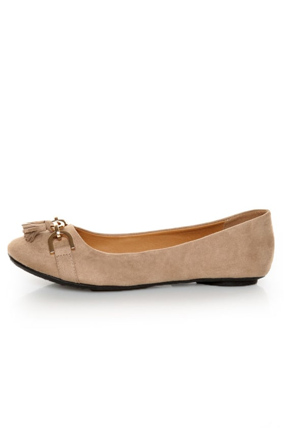 City Classified Hi Taupe Tassel Ballet Flats at Lulus.com!