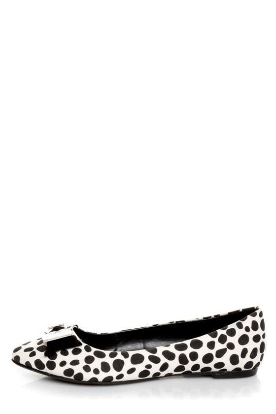 City Classified Kodey Beige and Black Dalmatian Pointed Flats at Lulus.com!