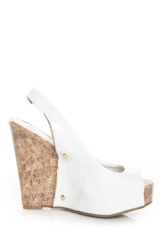 CityClassified Layton White Patent Peep Toe Slingback Wedges
