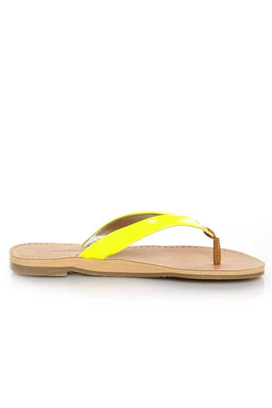 City Classified Micky Yellow Neon Patent Flip-Flop Thong Sandals