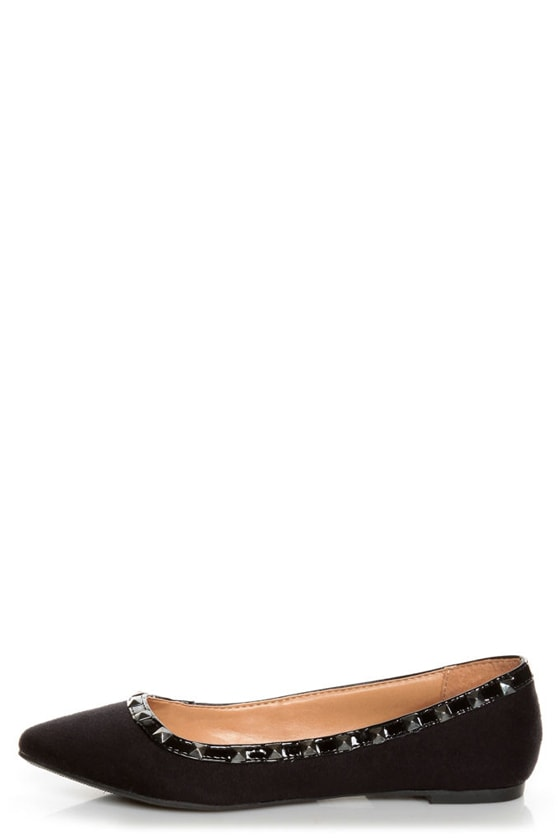 City Classified Money Black Studded Pointed Flats at Lulus.com!