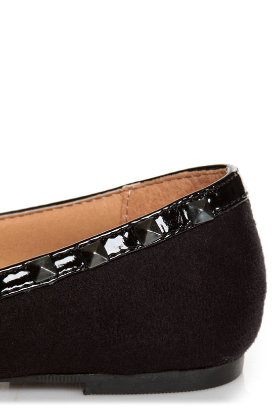 City Classified Money Black Studded Pointed Flats