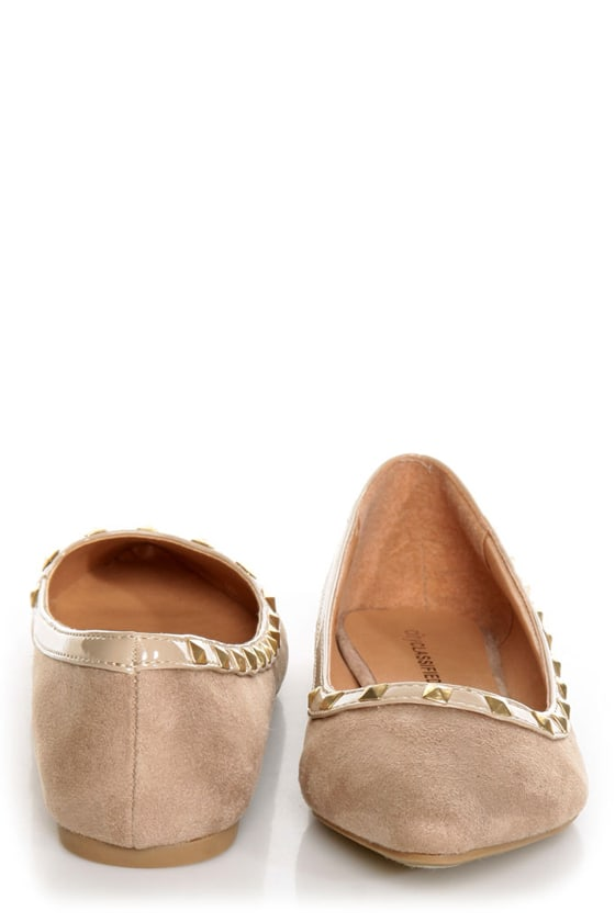 City Classified Money Taupe Studded Pointed Flats