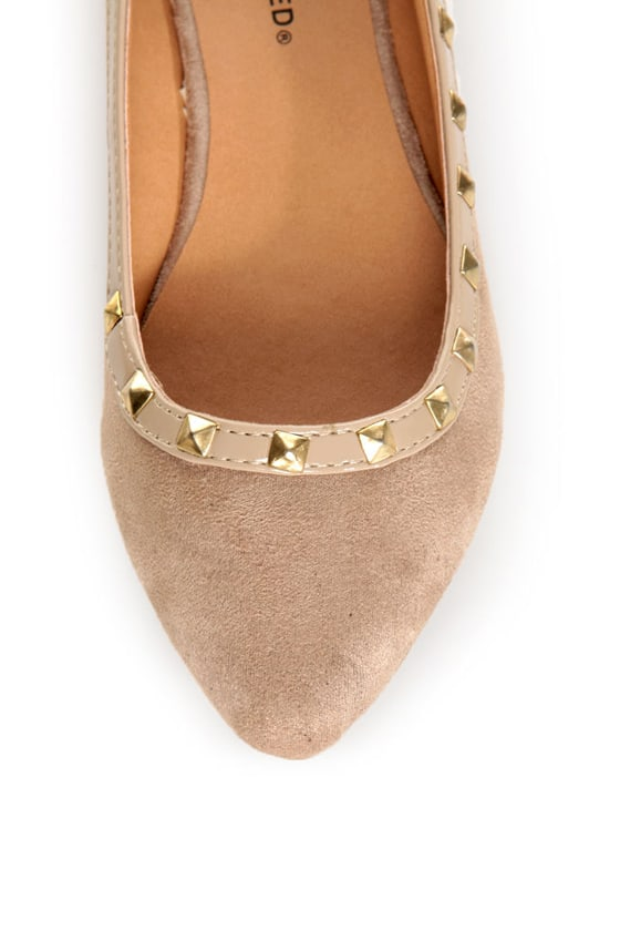 City Classified Money Taupe Studded Pointed Flats at Lulus.com!