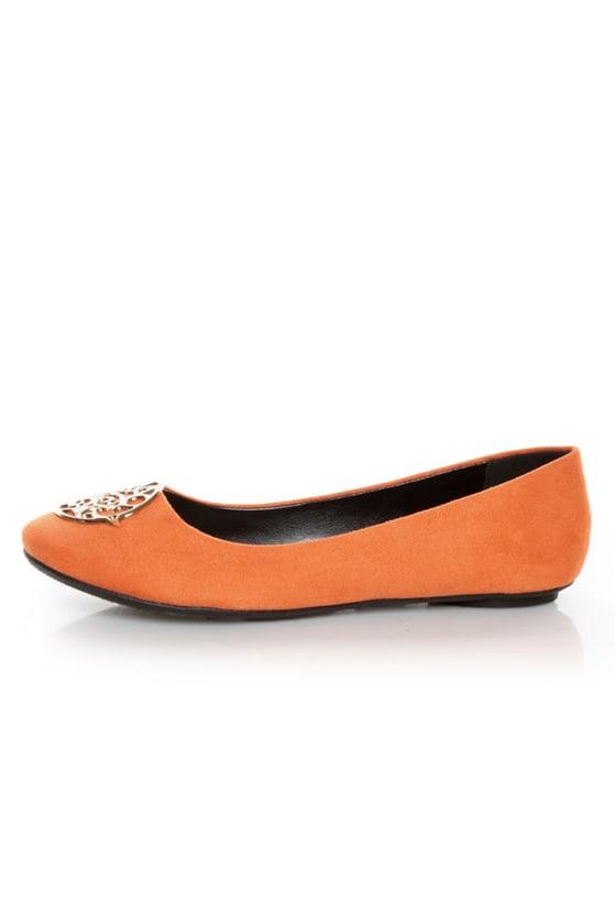 City Classified Quant Coral Orange Medallion Ballet Flats
