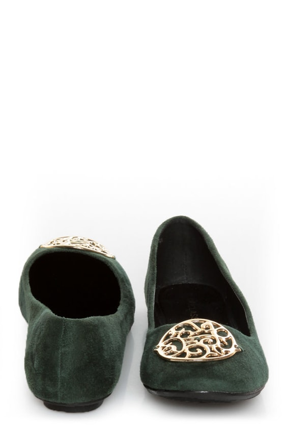 City Classified Quant Green Medallion Ballet Flats at Lulus.com!
