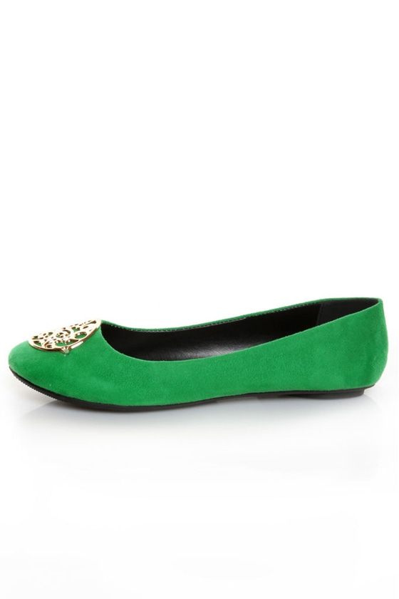 City Classified Quant Kelly Green Medallion Ballet Flats