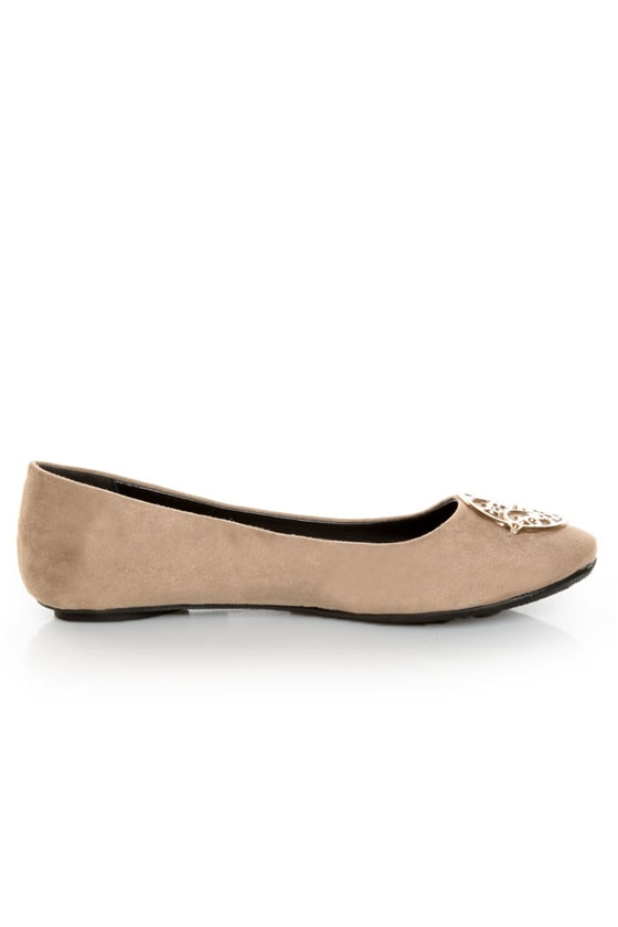 City Classified Quant Taupe Medallion Ballet Flats