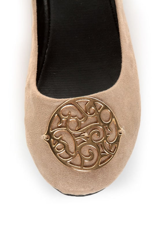 City Classified Quant Taupe Medallion Ballet Flats at Lulus.com!