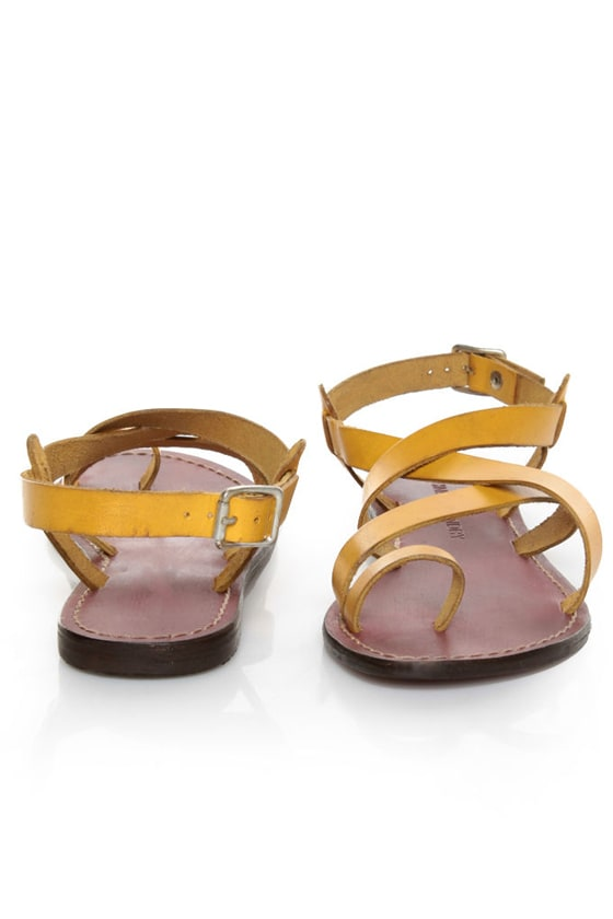 Chinese Laundry Aasha Yellow Leather Strappy Flat Sandals