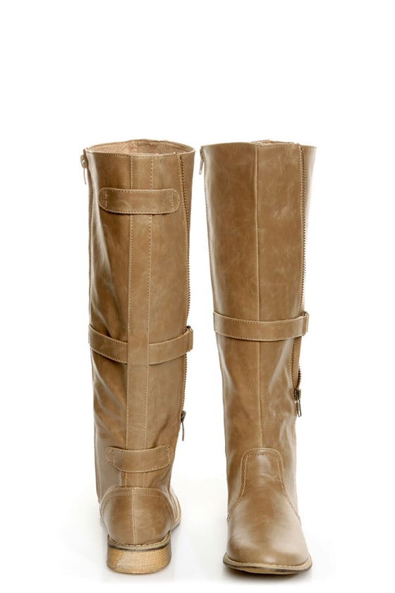 C Label Alexis 16 Taupe Unzipped Riding Boots at Lulus.com!