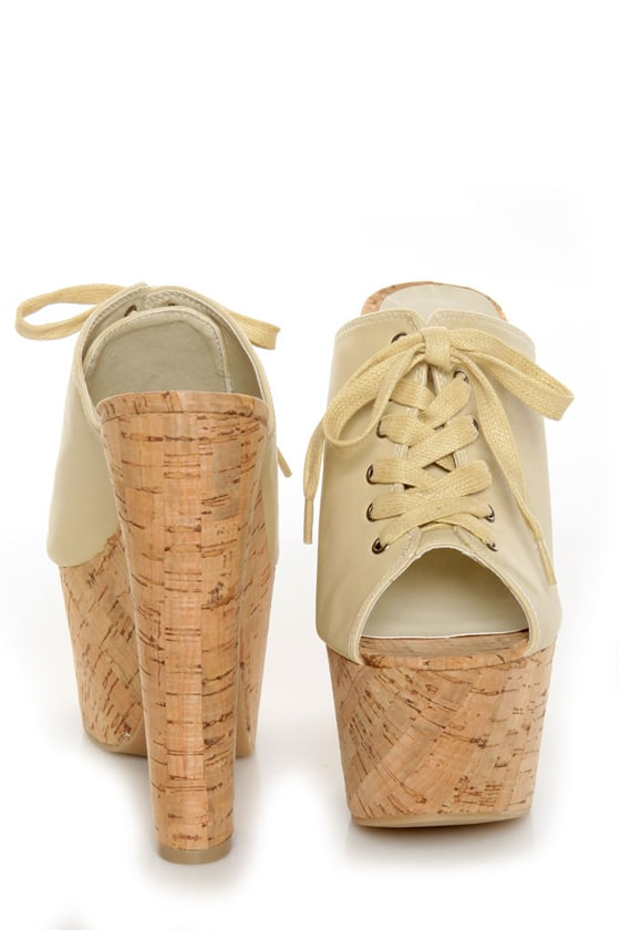 C Label Christian 3 Beige Lace-Up Peep Toe Slide Platforms