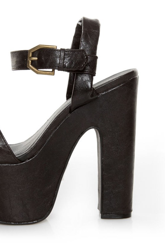 C Label Christian 8 Black Super Platform Sandals at Lulus.com!