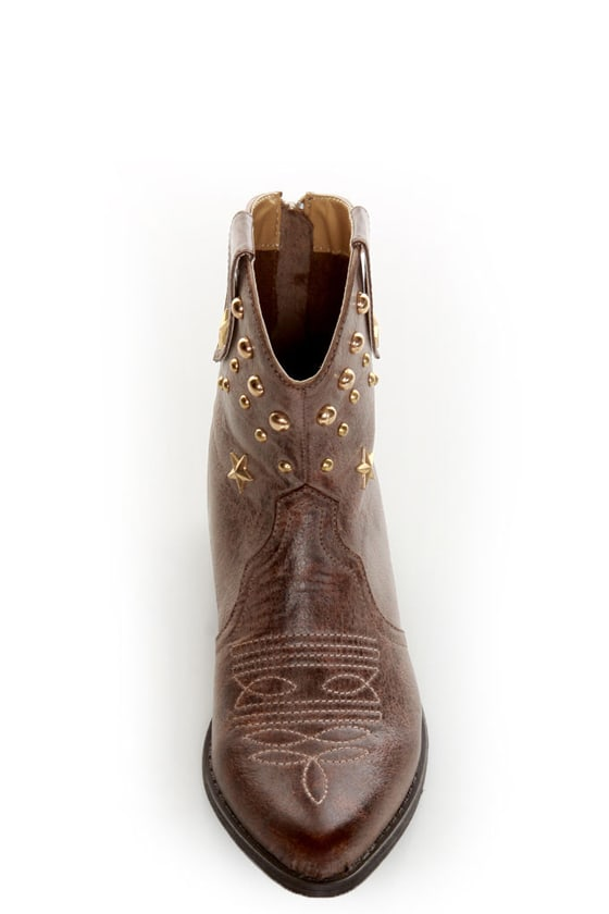 C Label Denco 1 Brown Star Studded Ankle Cowboy Boots at Lulus.com!