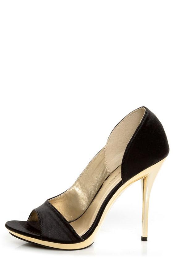 Black And Gold Peep Toe Heels