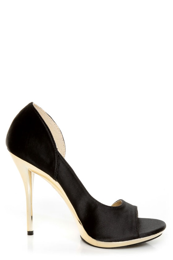 C Label Gaea 7 Black Satin and Gold Peep Toe D'Orsay Heels at Lulus.com!