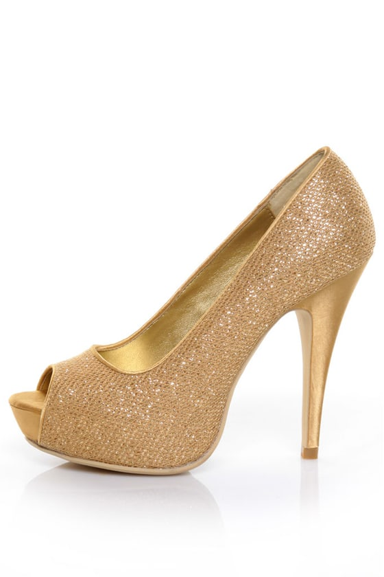 Chinese Laundry Hey There Honey Glitter Gold Peep Toe Pumps - $73.00