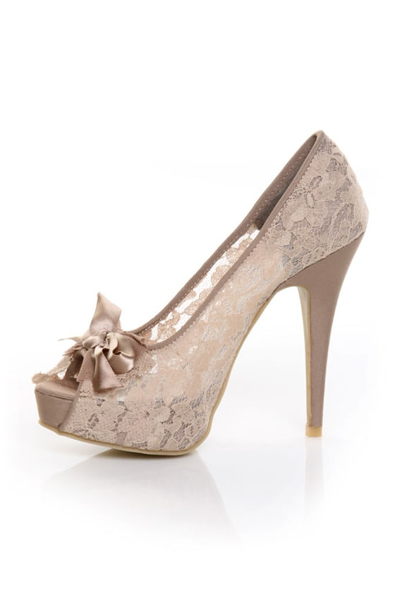 Chinese Laundry Hotline Vintage Lace Nude Peep Toe Pumps - $69.00