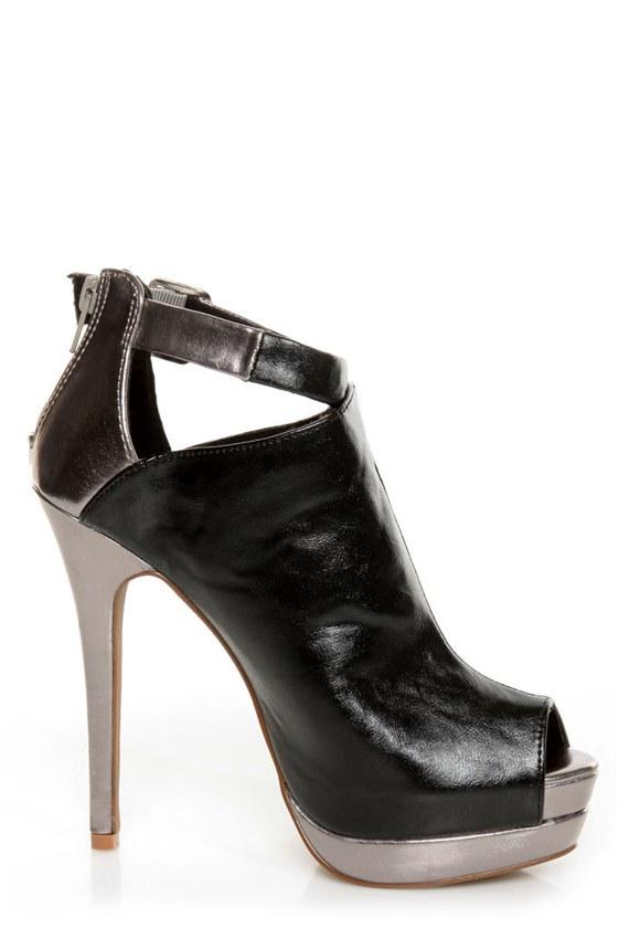 C Label Jocelyn 54 Black and Silver Peep Toe Platform Booties