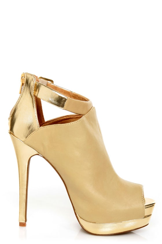 C Label Jocelyn 54 Natural and Gold Peep Toe Platform Booties