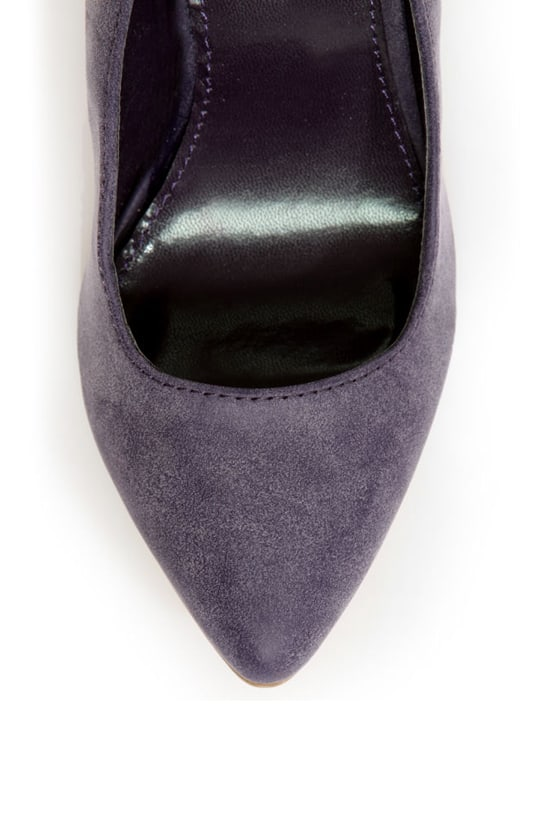 C Label Kristy 6 Purple Burnished Back-Bow Pointed Chunky Heels at Lulus.com!