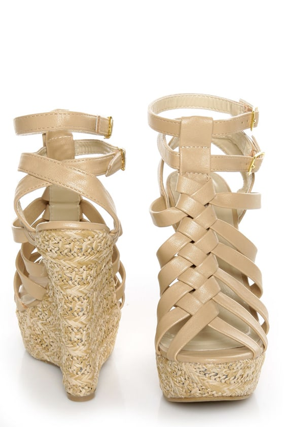 C Label Nancy 5 Beige Strappy Espadrille Wedge Sandals at Lulus.com!