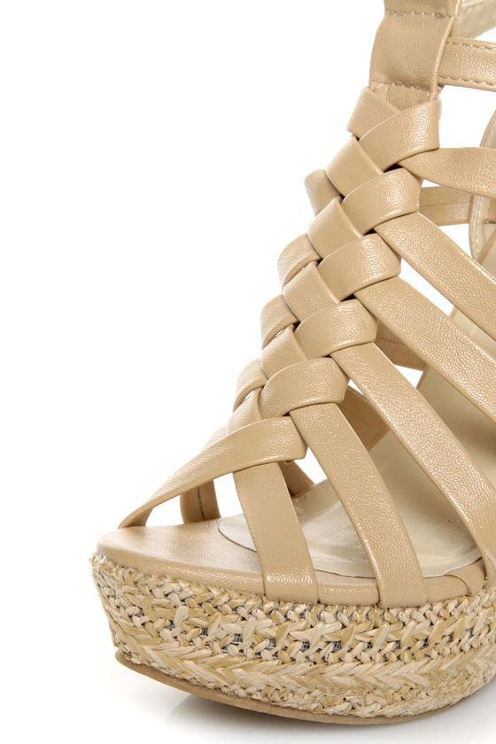 C Label Nancy 5 Beige Strappy Espadrille Wedge Sandals