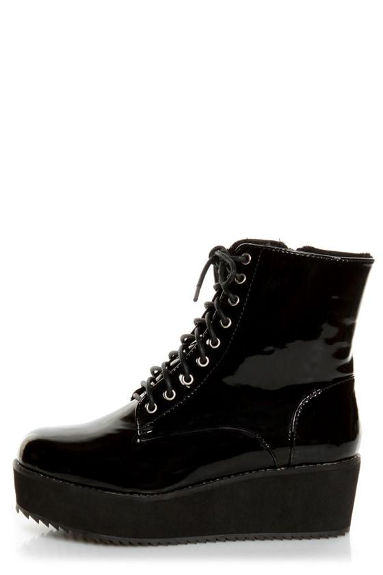 60e547e79aa C Label Nata 1 Black Patent Platform Combat Boots -  55.00