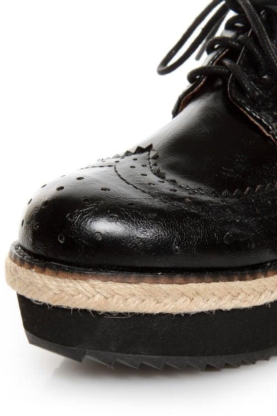 C Label Nata 6 Black Brogue Creeper Platform Oxfords