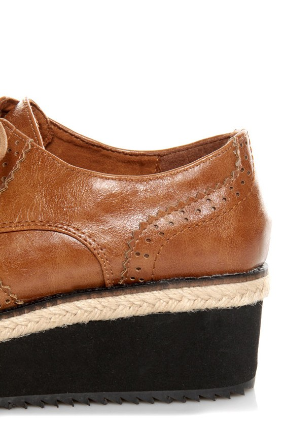 C Label Nata 6 Tan Brogue Creeper Platform Oxfords