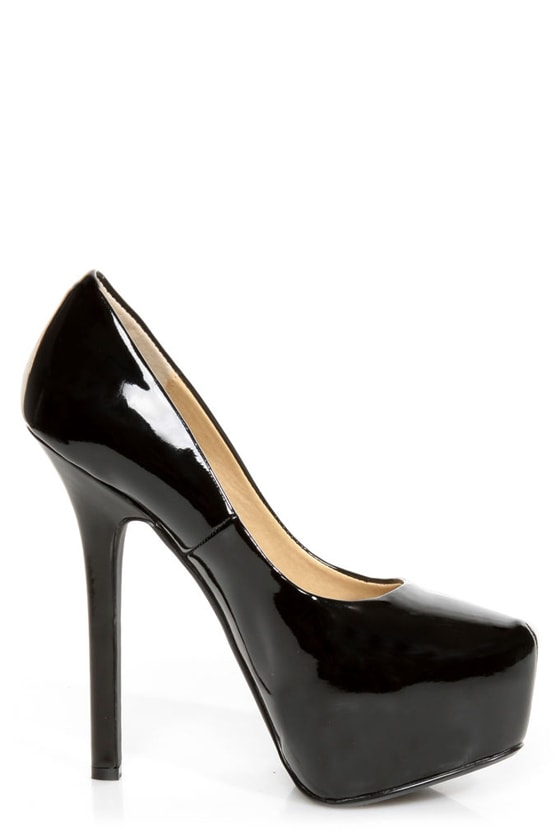 Chinese Laundry Perfect Ten Patent Black Pointed Platform Heels at Lulus.com!