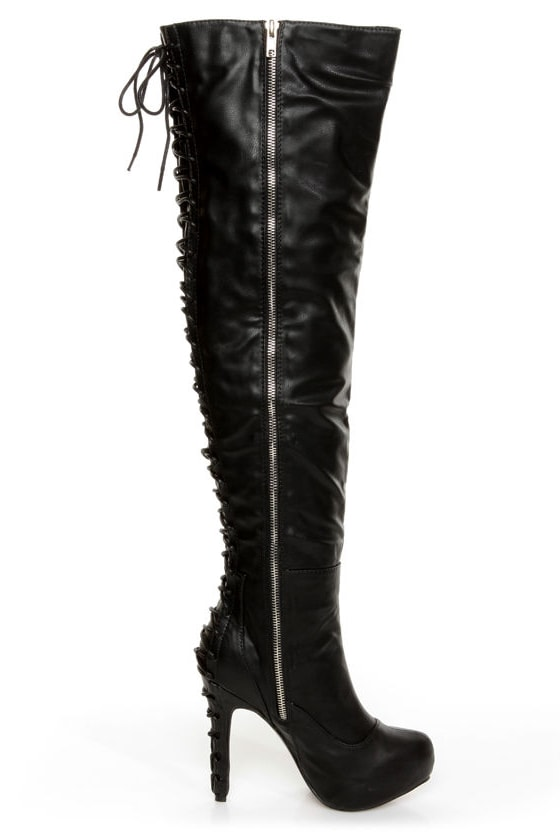 C Label Peyton 8A Black Back-Laced High Heel OTK Boots