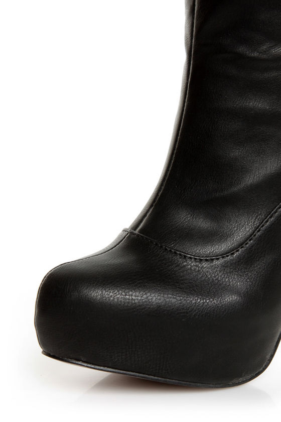 C Label Peyton 8A Black Back-Laced High Heel OTK Boots at Lulus.com!