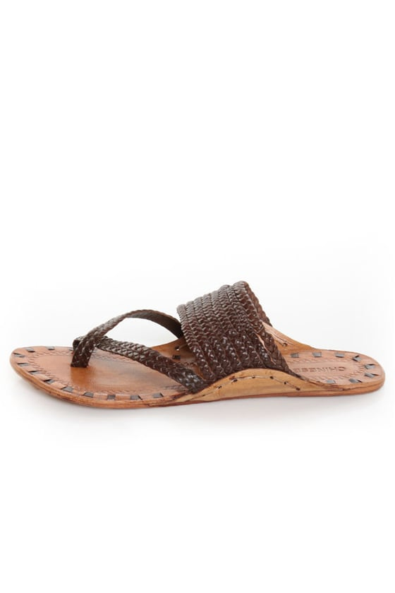 Chinese Laundry Rock Steady Brown Leather Braided Thong Sandals