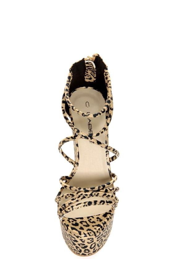 C Label Sara 1 Gold Leopard Print Strappy Super Platform Heels