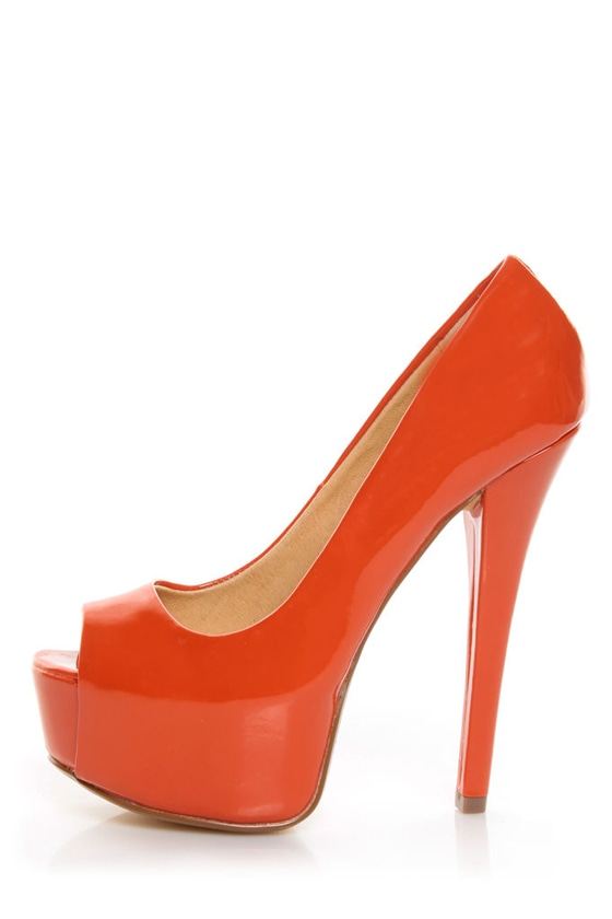 Chinese Laundry Triple Major Tangerine Patent Platform Pumps