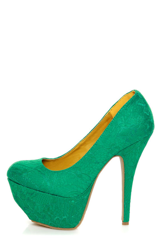Dollhouse Allure Teal Lace Platform Pumps