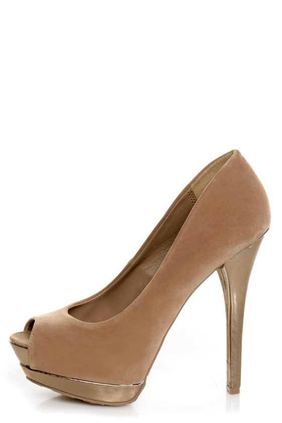 Dollhouse Devoted Nude and Metallic Peep Toe Pumps