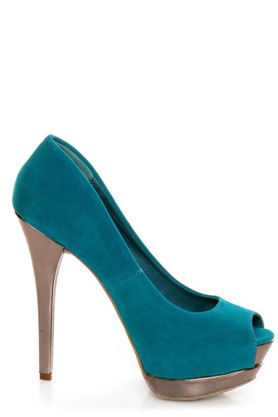 Dollhouse Devoted Teal and Metallic Peep Toe Pumps at Lulus.com!