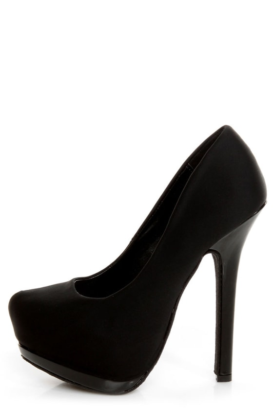 Dollhouse Dulce Black Lycra and Patent Platform Pumps at Lulus.com!