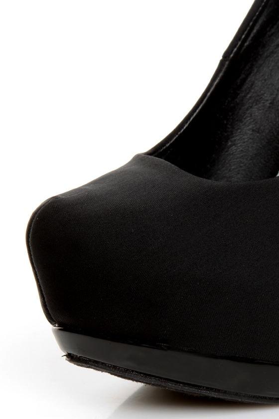 Dollhouse Dulce Black Lycra and Patent Platform Pumps
