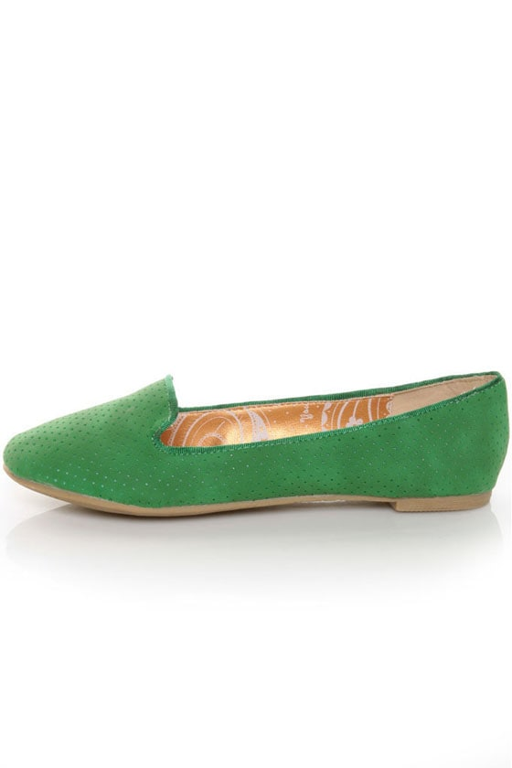 Dollhouse Geenz Green Perforated Smoking Loafer Flats