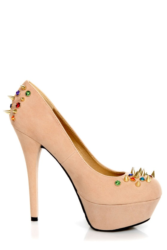 Dollhouse Gemini Nude Bejeweled and Spiked Platform Heels at Lulus.com!